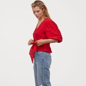 NWT | H&M Puff Sleeve Wrap Blouse Red Top Shirt 10